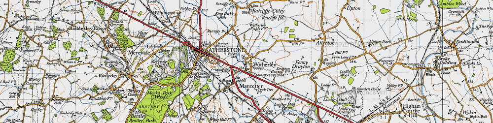 Old map of Witherley in 1946