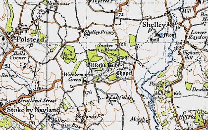 Old map of Withermarsh Green in 1946