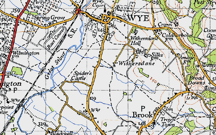Old map of Withersdane in 1940