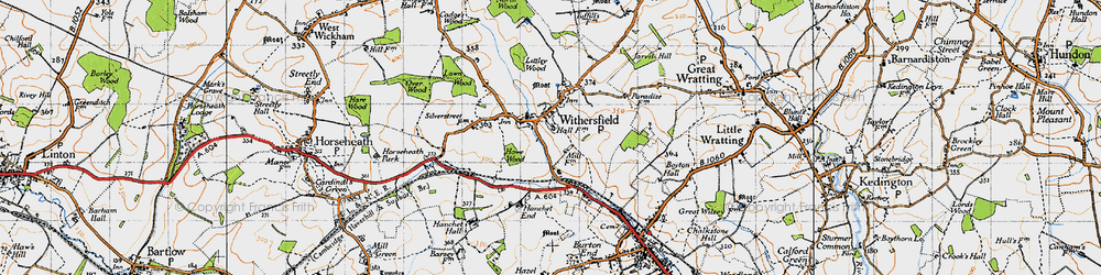 Old map of Withersfield in 1946