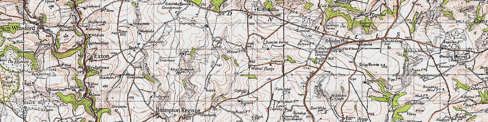 Old map of Wivelscombe Barrow in 1946