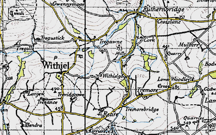 Old map of Withielgoose Mills in 1946