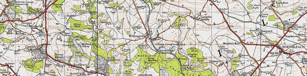 Old map of Withington in 1946