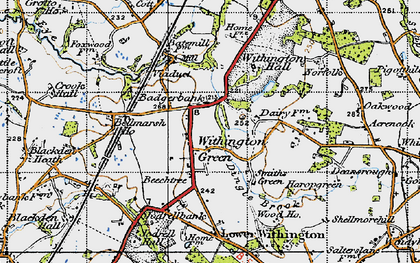 Old map of Withington Hall in 1947