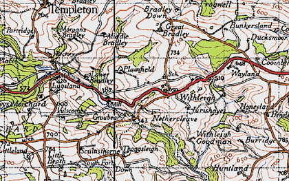 Old map of Withleigh in 1946
