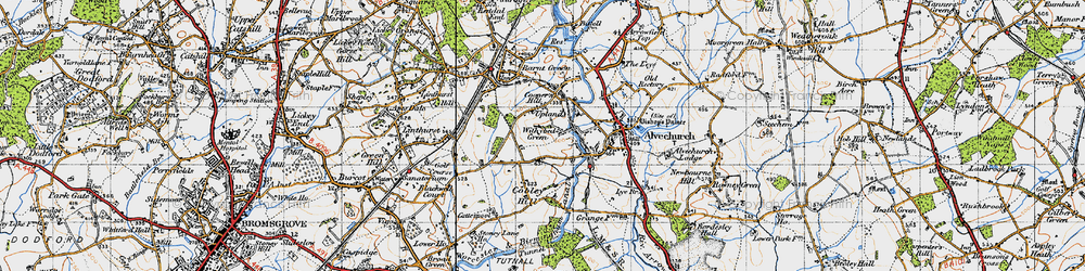Old map of Withybed Green in 1947