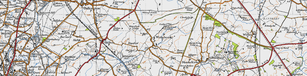 Old map of Withybrook Spinney in 1946