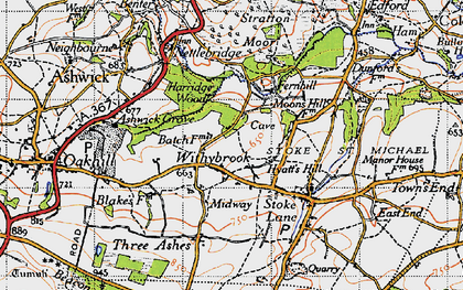 Old map of Withybrook in 1946
