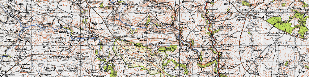 Old map of Winsford Hill in 1946