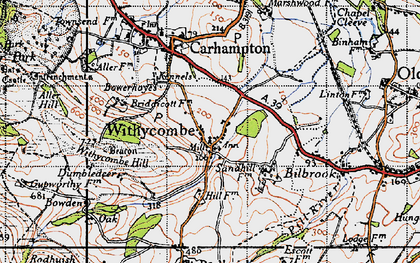 Old map of Withycombe in 1946