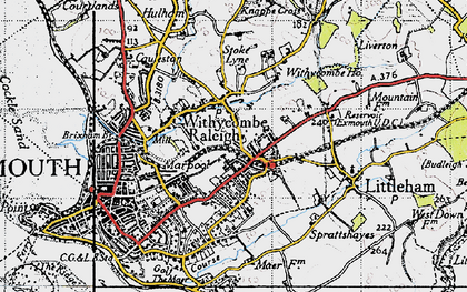 Old map of Withycombe Raleigh in 1946