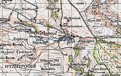 Old map of Withypool in 1946