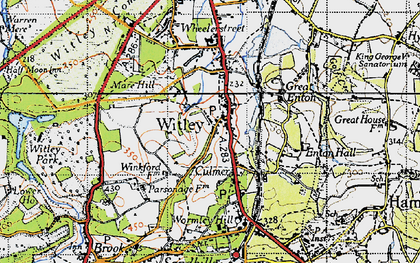 Old map of Witley in 1940