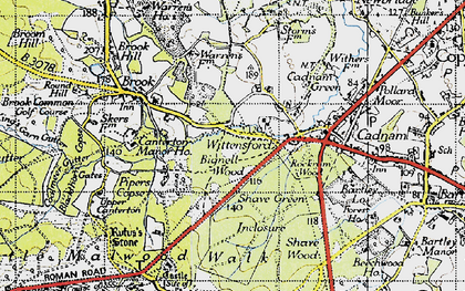 Old map of Wittensford in 1940