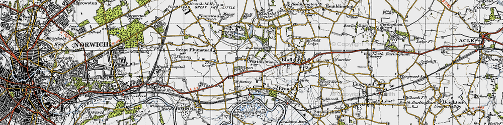 Old map of Witton in 1945