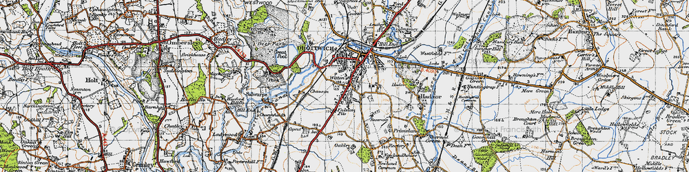 Old map of Witton in 1947