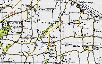 Old map of Witton Bridge in 1945