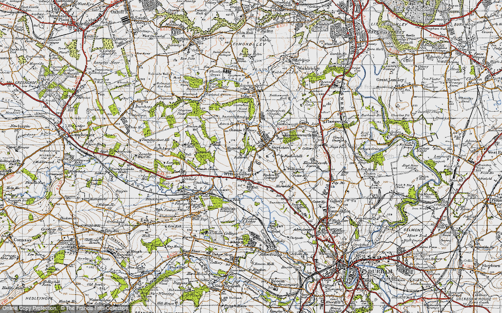 Map of Witton Gilbert 1947 Francis Frith