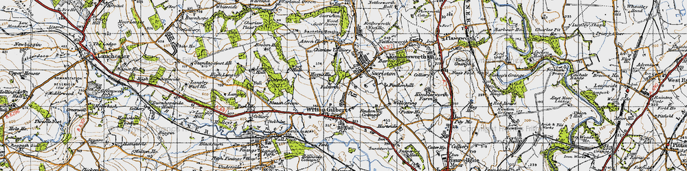 Old map of Witton Gilbert in 1947