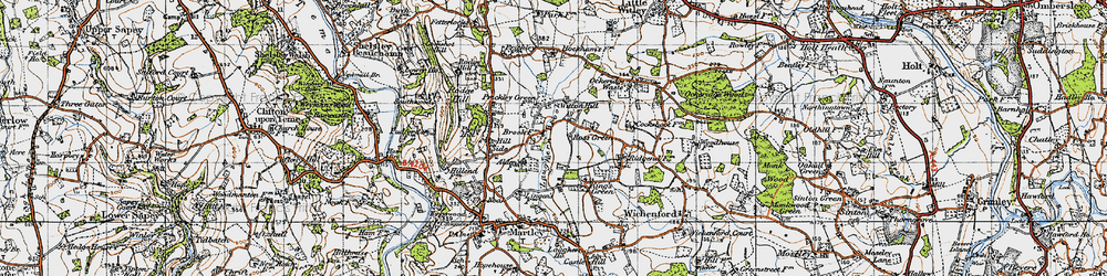 Old map of Witton Hill in 1947