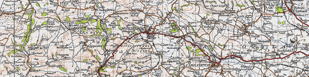 Old map of Wiveliscombe in 1946