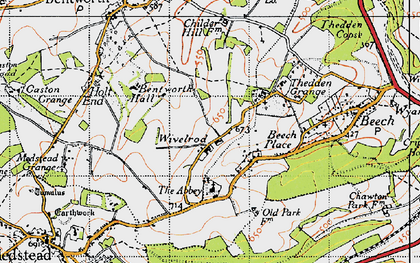 Old map of Wivelrod in 1945