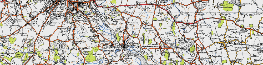 Old map of Wivenhoe in 1945