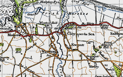 Old map of Wiveton in 1946