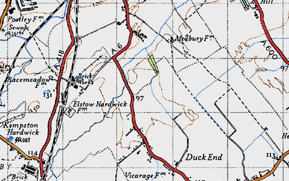 Old map of Wixams in 1946