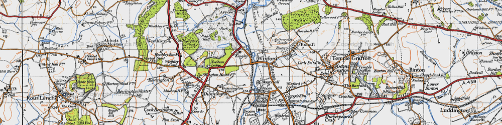 Old map of Wixford in 1947
