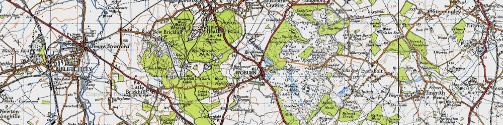 Old map of Woburn in 1946