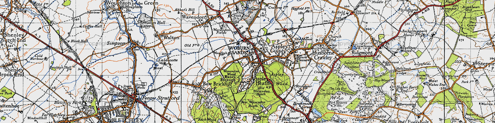 Old map of Woburn Sands in 1946