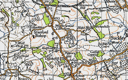 Old map of Wofferwood Common in 1947