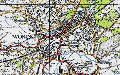 Old map of Woking in 1940