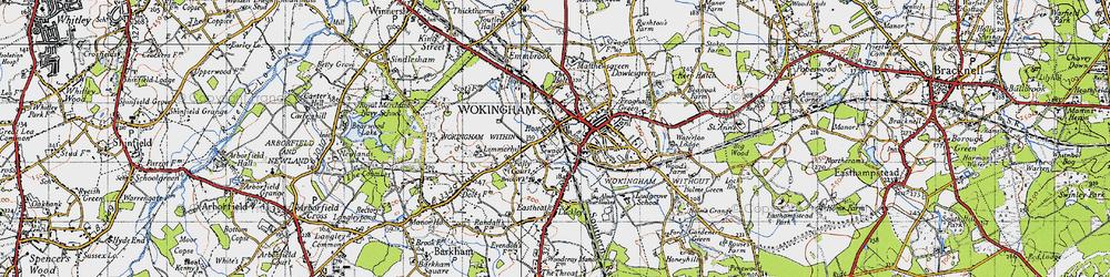 Old map of Wokingham in 1940