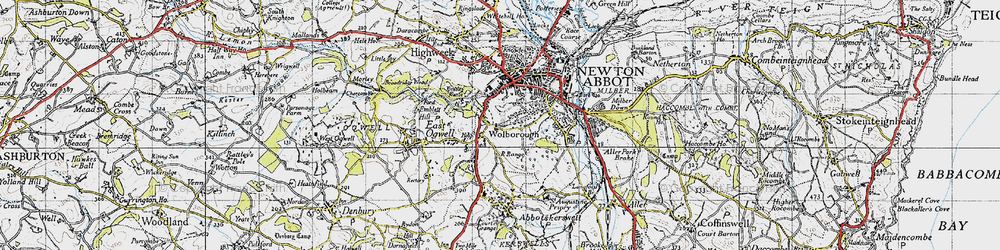 Old map of Wolborough in 1946