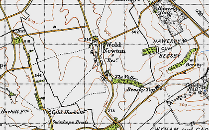 Old map of Wold Newton in 1946