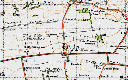 Old map of Wold Cottage, The in 1947