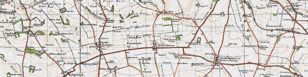 Old map of Wold Newton Grange in 1947