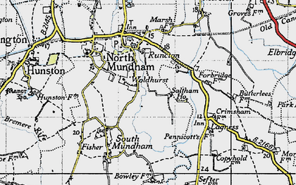 Old map of Woldhurst in 1945