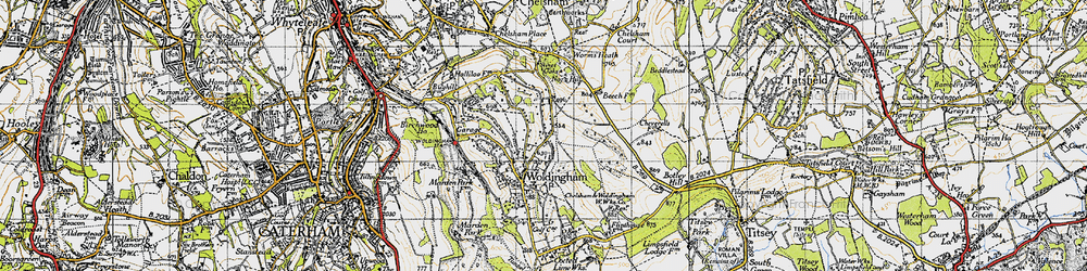 Old map of Worms Heath in 1946