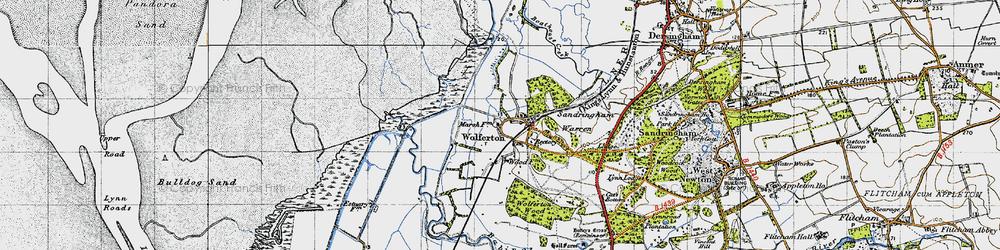 Old map of Wolferton in 1946