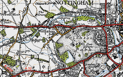 Old map of Wollaton in 1946