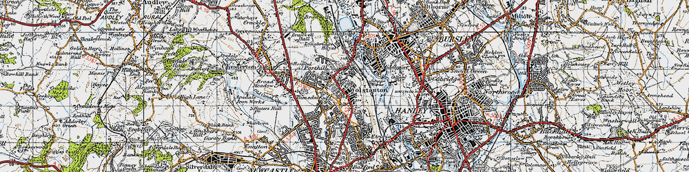 Old map of Wolstanton in 1946