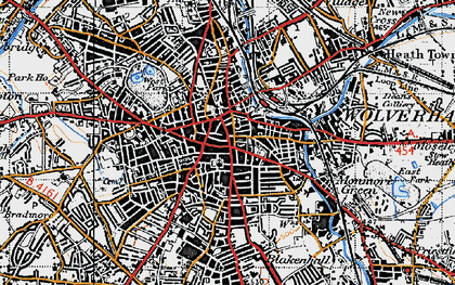Old map of Wolverhampton in 1946