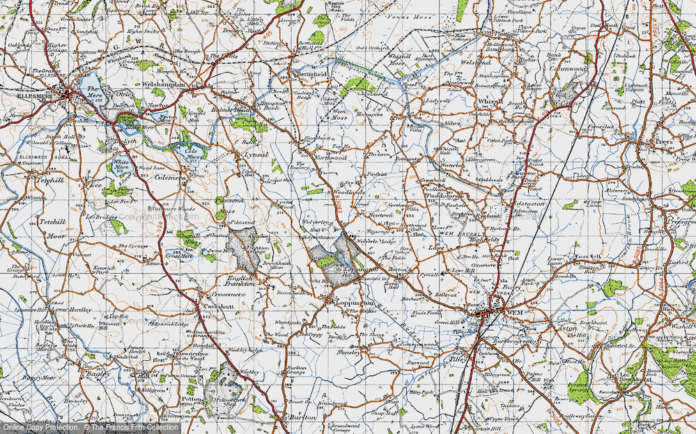 Old Map of Historic Map covering Woodlands, The in 1947