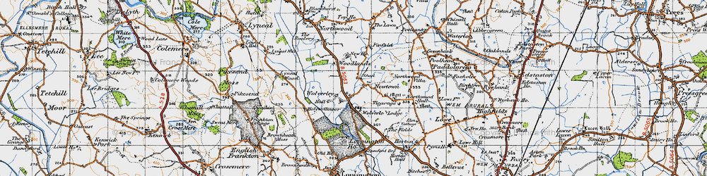 Old map of Woodlands, The in 1947