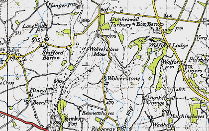 Old map of Limers Cross in 1946