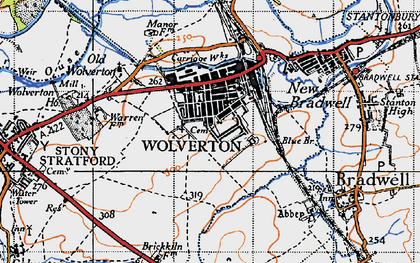 Old map of Wolverton in 1946