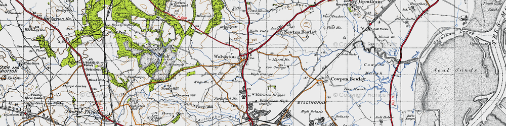 Old map of Wolviston in 1947